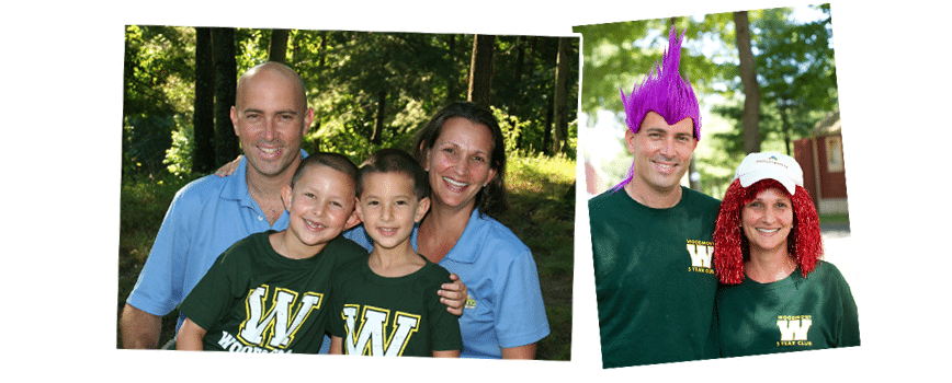 families and counselors at summer camp