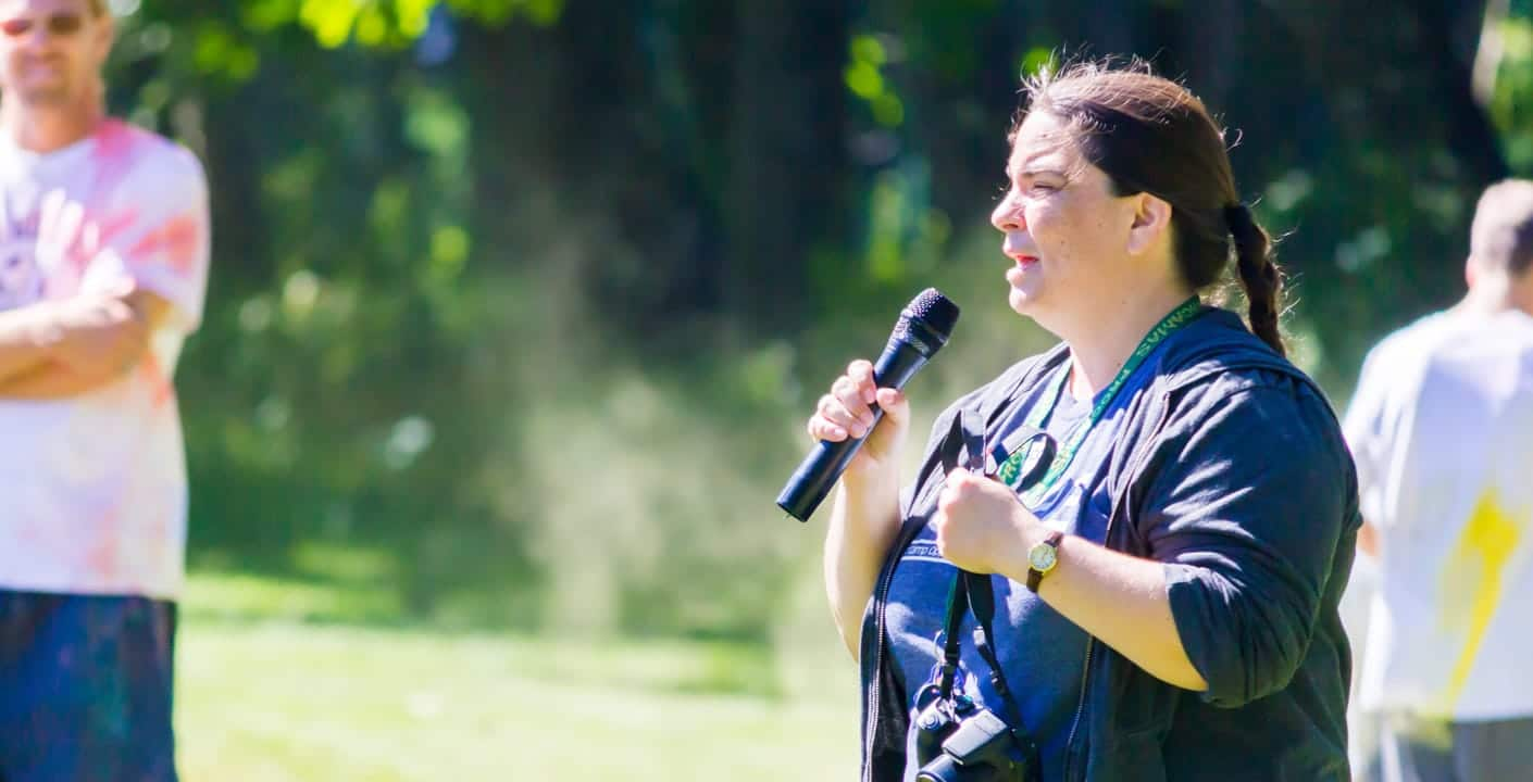 Heather speaking at the color run