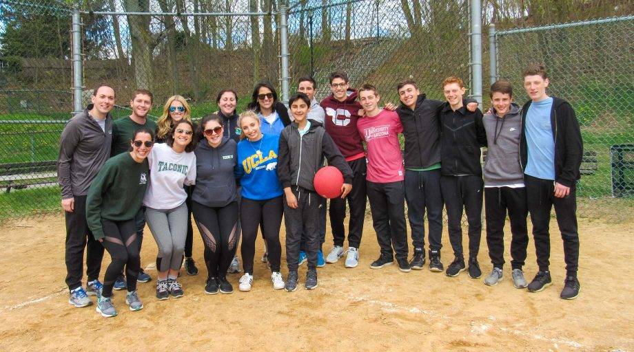Young professionals playing sports