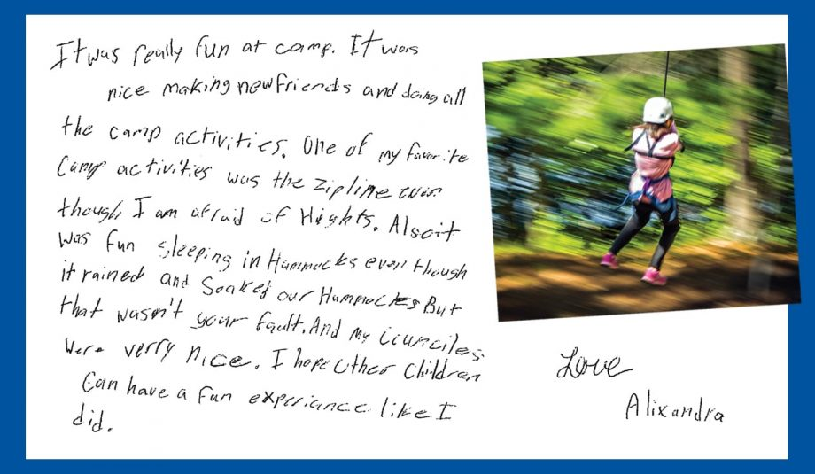Alixandra's Camper Letter