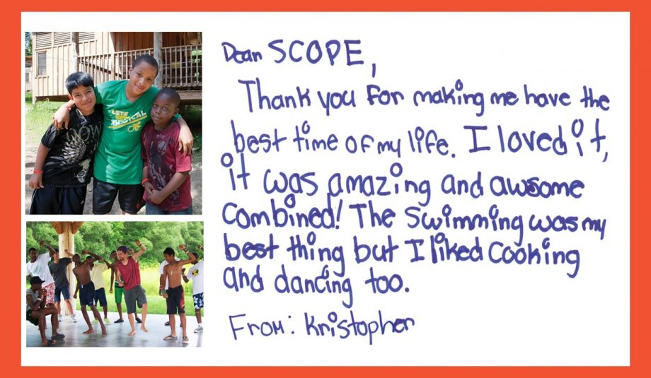Kristopher's Camper Letter