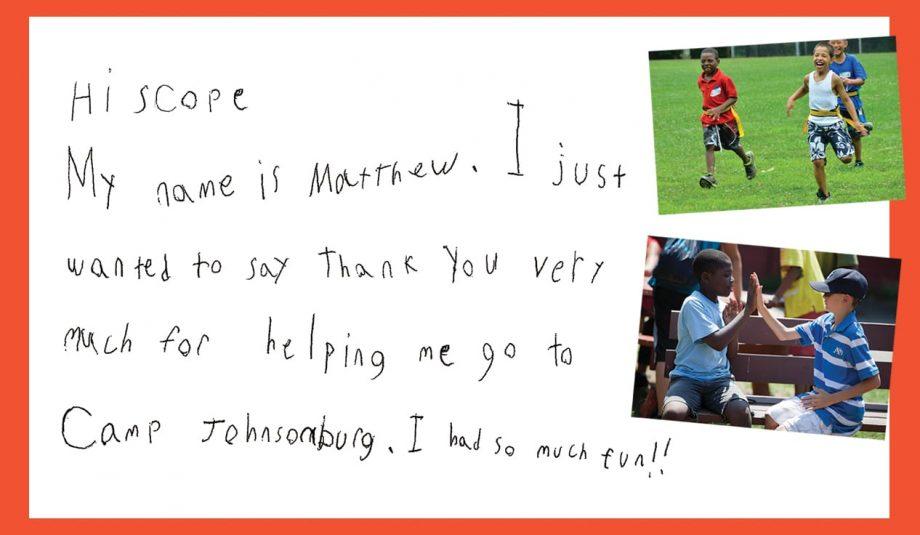 Matthew's Camper Letter