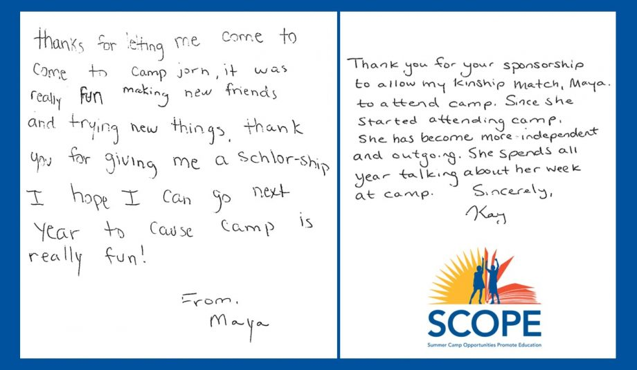 Maya and Kay's Camper Letter