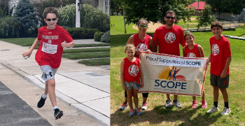 family in front of scope sign